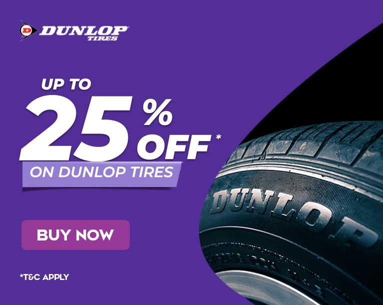 Up to 25% off on Dunlop Tires