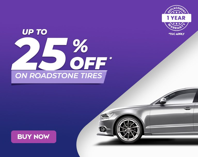 Up to 25% off on Roadstone Tires